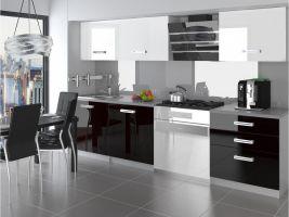 Kuchyňská linka Neptun 180cm - Bílá/černá - LESK