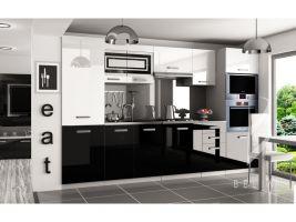 Kuchyňská linka Syntka 300cm - Bílá/černá - LESK