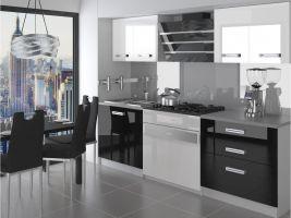Kuchyňská linka Tiesto 120cm - Bílá/černá - LESK