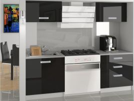 Kuchyňská linka Vulcano 120cm - Černá- LESK