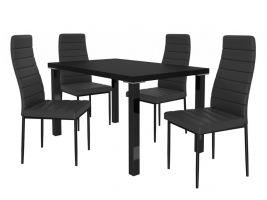 Jídelní set Moderno 1+4 židlí - černá/černá