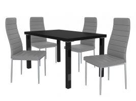 Jídelní set Moderno 1+4 židlí - černá/popel