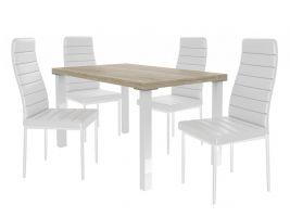 Jídelní set Moderno 1+4 židlí - sonoma/bílá