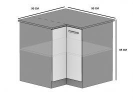 kuchyně BELINI - dolní skříňka rohová  - SNp/90x90 - lesklé dvířka