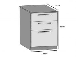 kuchyně BELINI - dolní zásuvky 3Z - SDsz/60 - lesklé dvířka