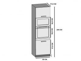 kuchyně BELINI - skříňka vysoká na troubu a mikrovlnku - SSp/60 - lesklé dvířka