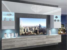 obývací stěna Imperium 1 - bílá/bílý lesk-stříbrné dřevo