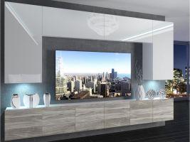 obývací stěna Imperium 2 - bílá/bílý lesk-stříbrné dřevo