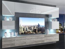 obývací stěna Imperium 3 - bílá/bílý lesk-stříbrné dřevo