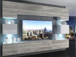 obývací stěna Imperium 3 - bílá/dekor stříbrného dřeva-bílý lesk