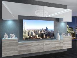 obývací stěna Imperium 4 - bílá/bílý lesk-stříbrné dřevo