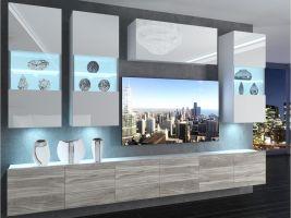 obývací stěna Imperium 5 - bílá/bílý lesk-stříbrné dřevo