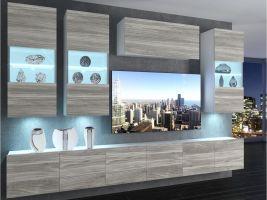 obývací stěna Imperium 5 - bílá/stříbrné dřevo