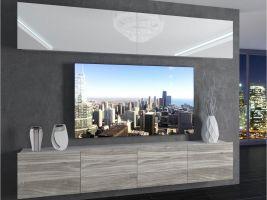 obývací stěna Imperium 6 - bílá/bílá lesk-stříbrné dřevo