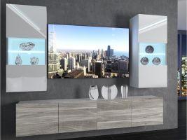 obývací stěna Imperium 7 - bílá/bílý lesk-stříbrné dřevo