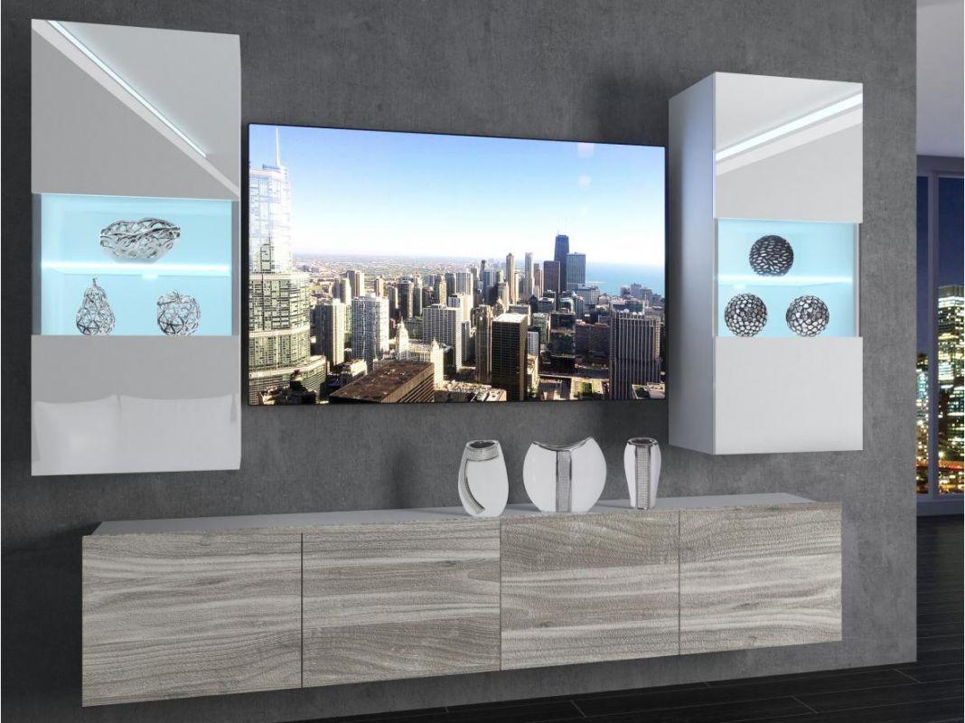 obývací stěna Imperium 7 - bílá/bílý lesk-stříbrné dřevo BELINI