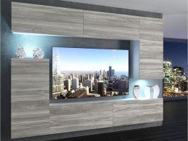 obývací stěna Imperium 8 - bílá/stříbrné dřevo