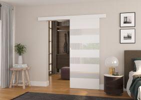 Interiérové posuvné dveře MILOU - Bílá  / Bílé sklo - 90cm