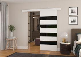 Interiérové posuvné dveře MILOU - Bílá  / Černé sklo - 90cm