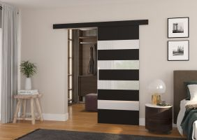 Interiérové posuvné dveře MILOU - Černá / Bílé sklo - 90cm