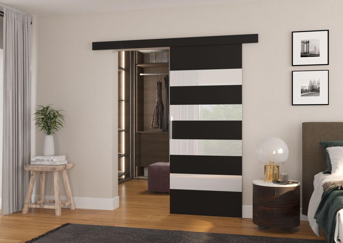 Interiérové posuvné dveře MILOU - Černá / Bílé sklo - 90cm ADRK