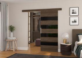 Interiérové posuvné dveře MILOU - Choco / Černé sklo - 90cm