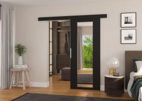 Interiérové posuvné dveře BRIT - Černá / Zrcadlo - 90cm