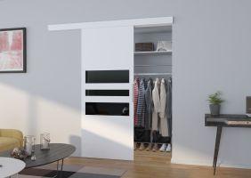 Interiérové posuvné dveře  ALENA - Bílá / Černé sklo - 90cm
