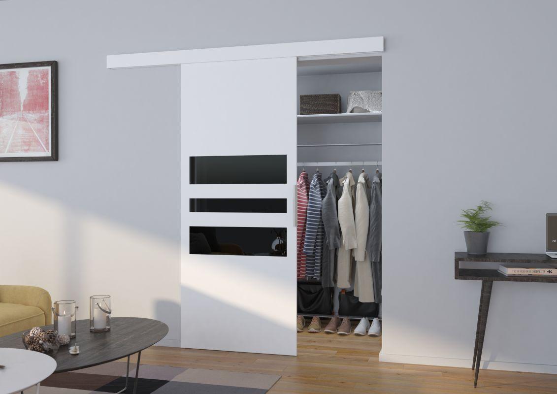 Interiérové posuvné dveře ALENA - Bílá / Černé sklo - 90cm ADRK