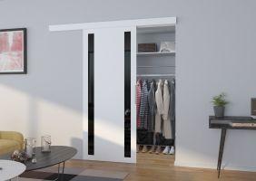 Interiérové posuvné dveře  TAMARA  -  Bílá / Černé sklo - 90cm