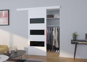 Interiérové posuvné dveře  ARES - Bílá / Černé sklo - 90cm