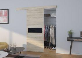 Interiérové posuvné dveře  KLÁRA - Dub Sonoma / Černé sklo - 100cm