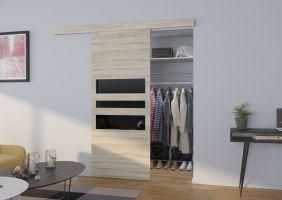 Interiérové posuvné dveře  ALENA - Dub Sonoma / Černé sklo - 90cm