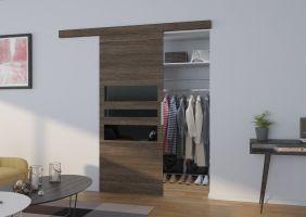 Interiérové posuvné dveře  ALENA  - Jasan Tmavý / Černé sklo - 80cm