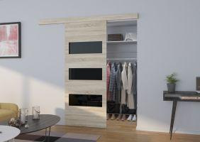 Interiérové posuvné dveře  ARES - Dub Sonoma / Černé sklo - 80cm