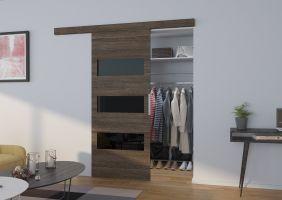 Interiérové posuvné dveře  ARES - Jasan tmavý / Černé sklo - 80cm