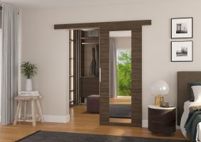 Interiérové posuvné dveře BRIT - Choco / Zrcadlo - 80cm