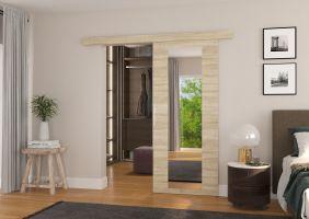 Interiérové posuvné dveře BRIT - Dub Sonoma / Zrcadlo - 80cm