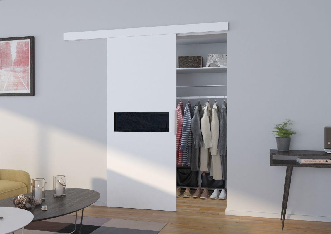 Interiérové posuvné dveře KLÁRA - Bílá / Černé sklo - 80cm ADRK