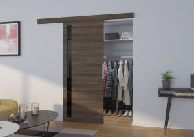 Interiérové posuvné dveře  LIRA - Jasan tmavý / Černé sklo - 80cm