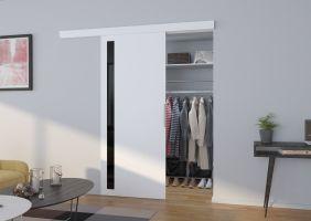 Interiérové posuvné dveře  LIRA - Bílá / Černé sklo - 80cm