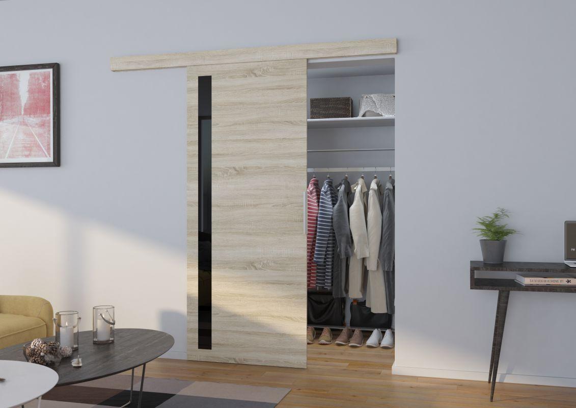 Interiérové posuvné dveře LIRA - Dub Sonoma / Černé sklo - 100cm ADRK