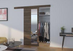 Interiérové posuvné dveře  MALTA  - Jasan tmavý / Zrcadlo - 90cm
