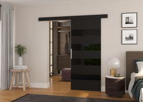 Interiérové posuvné dveře MILOU - Černá / Černé sklo - 80cm