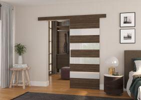 Interiérové posuvné dveře MILOU - Choco / Bílé sklo - 80cm
