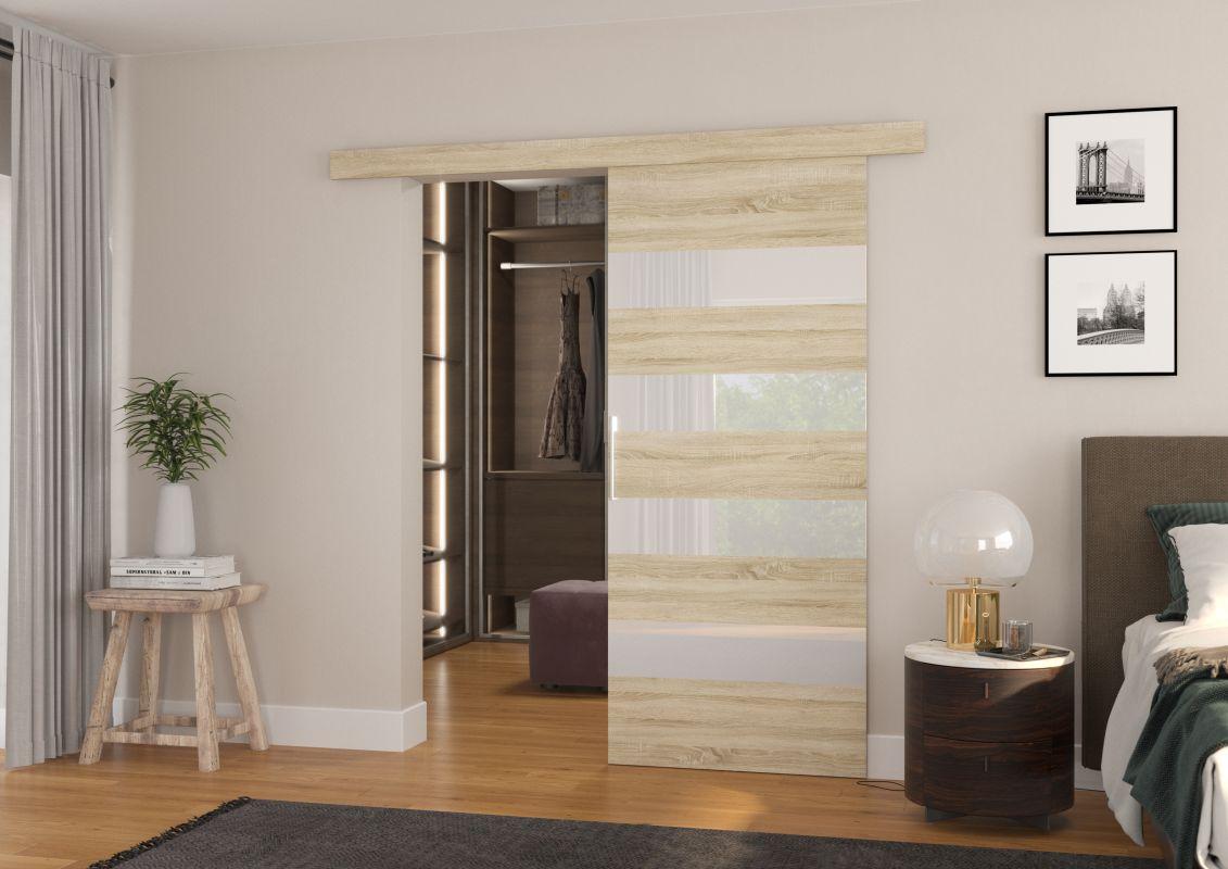 Interiérové posuvné dveře MILOU - Dub Sonoma / Bílé sklo - 80cm ADRK