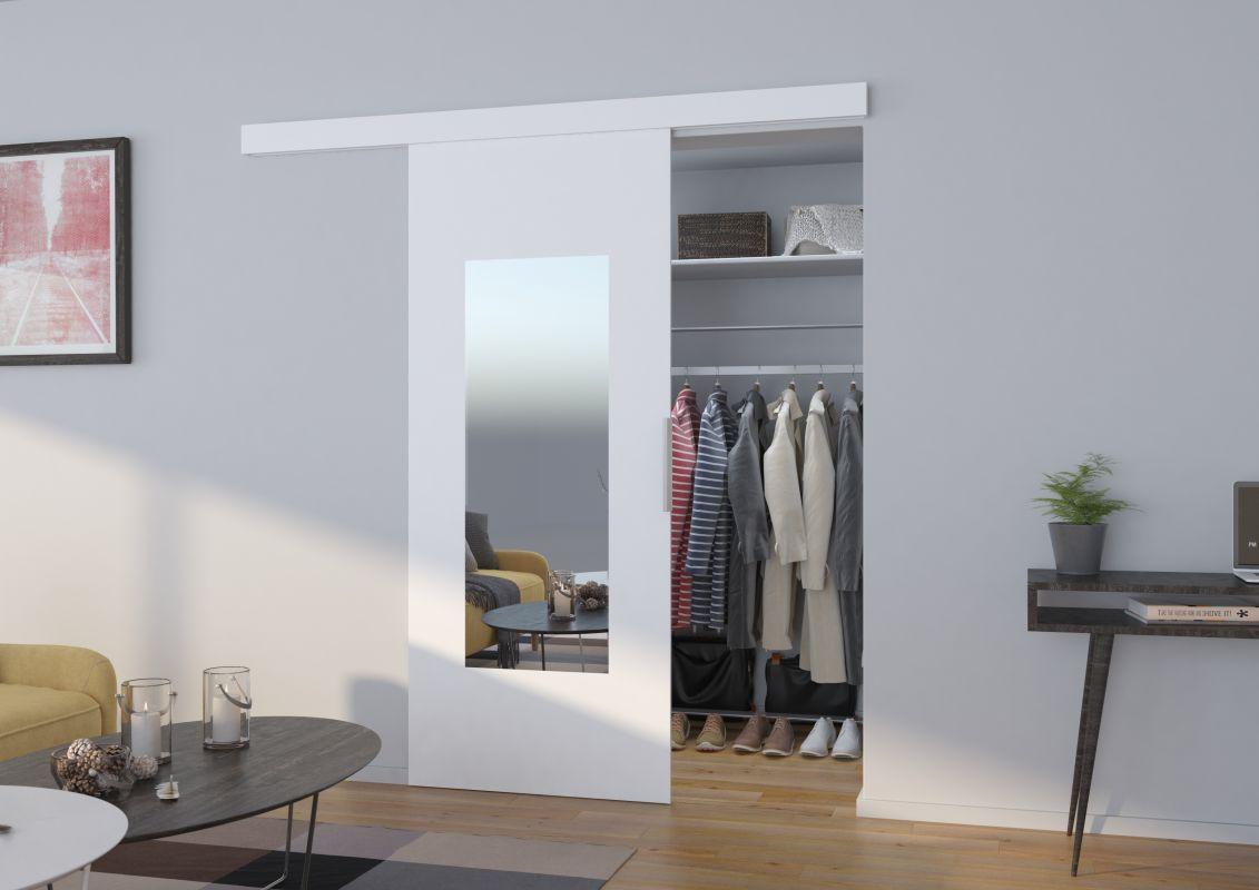 Interiérové posuvné dveře NELA - Bílá / Zrcadlo - 80cm ADRK