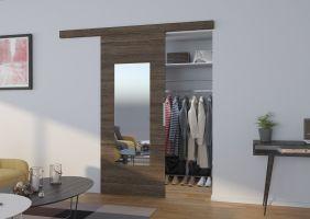 Interiérové posuvné dveře  NELA - Jasan tmavý / Zrcadlo - 80cm