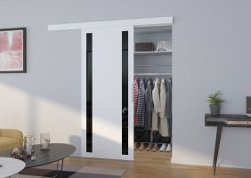 Interiérové posuvné dveře  TAMARA  -  Bílá / Černé sklo - 80cm