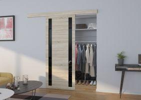 Interiérové posuvné dveře  TAMARA  -  Dub Sonoma / Černé sklo - 80cm